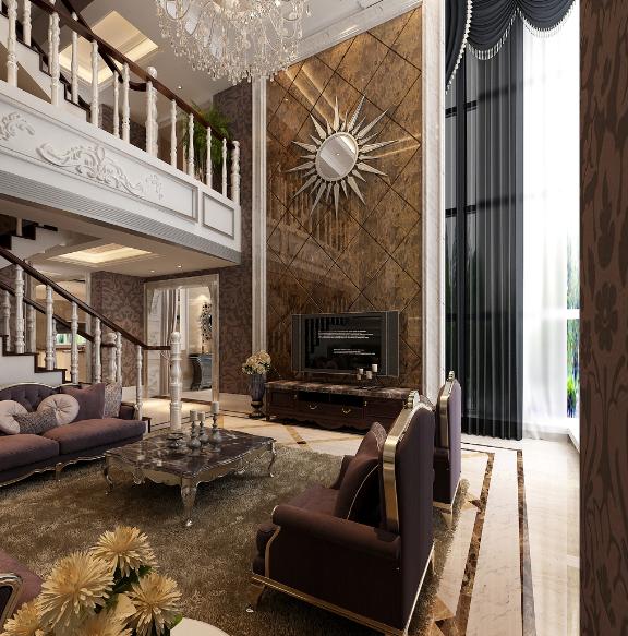 精美欧式挑空客厅背景墙设计效果图