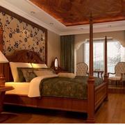 中式风格卧室壁纸装修整体图