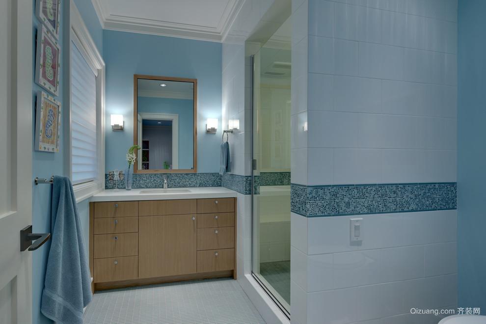 惬意安静的地中海风格卫生间设计装修效果图欣赏