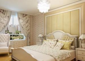 田园风格卧室软包背景墙效果图