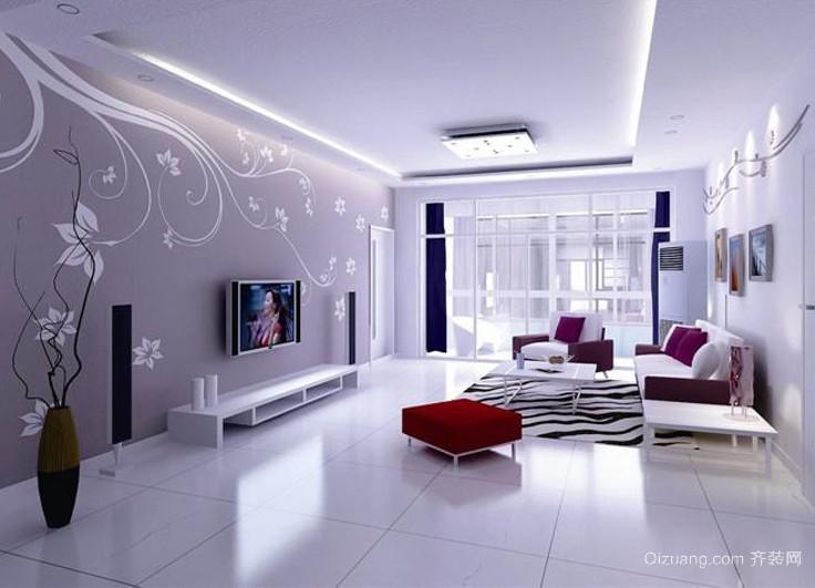 三室二厅大气时尚的现代客厅硅藻泥背景墙装修效果图