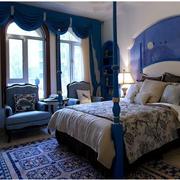地中海风格卧室壁纸装修飘窗图