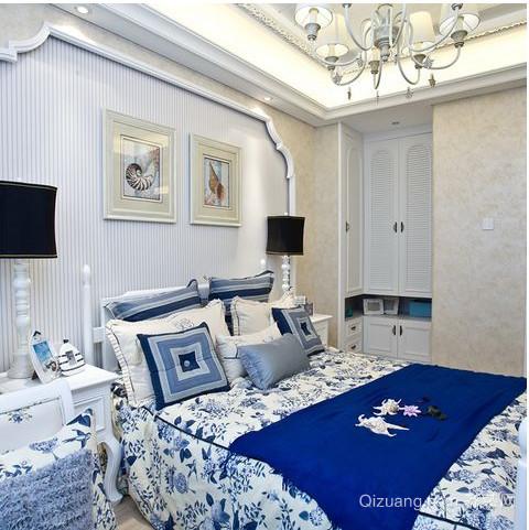 地中海别墅卧室壁纸装修效果图