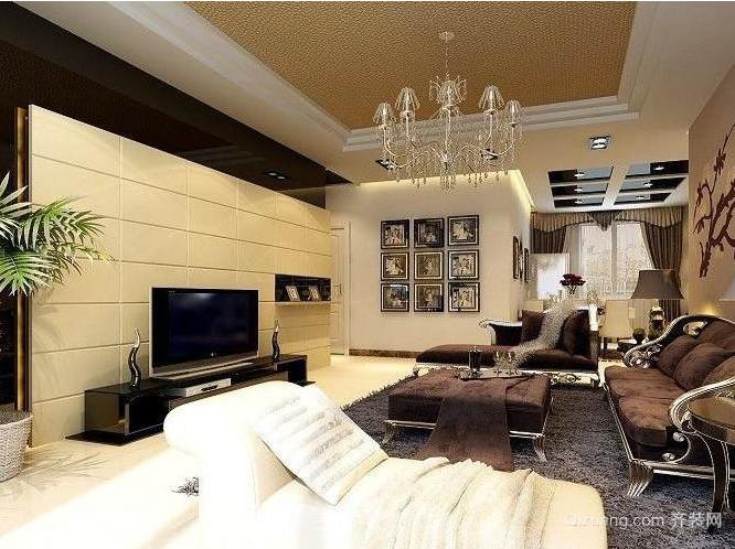 单身公寓有贵族品位的欧式影视墙装修效果图