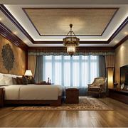 东南亚风格卧室壁纸装修飘窗图