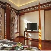 中式风格窗帘装修背景墙图