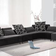 客厅懒人沙发装修窗帘图