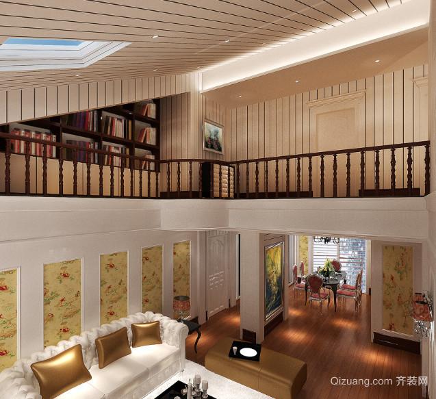 精美复式楼挑空客厅装修效果图