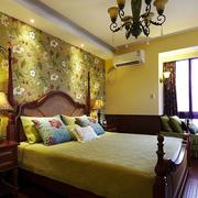 美式乡村风格卧室壁纸装修色调搭配