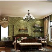 美式乡村风格卧室壁纸装修整体图