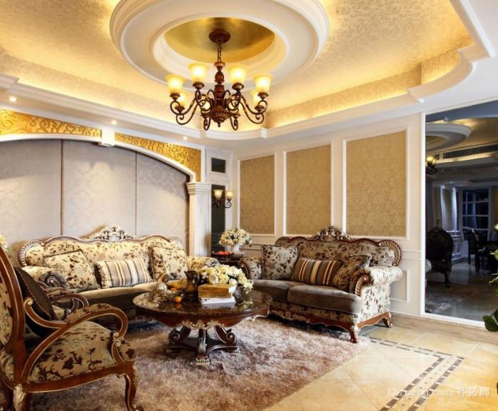 90平米精美奢华欧式风格吊顶装修效果图