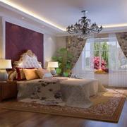 卧室软包背景墙装修窗帘图