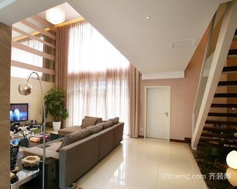 简约跃层式客厅超大窗帘装修效果图