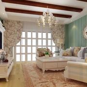美式乡村风格卧室壁纸装修飘窗图