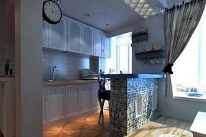 三室一厅地中海风格小厨房吧台装修设计效果图