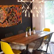餐厅背景墙装修桌椅图