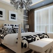 卧室背景墙装修窗帘图