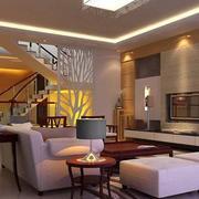 跃层式住宅客厅楼梯装修吊灯图