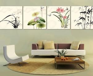 中式山水手绘家居室内装饰画装修效果图