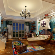 东南亚风格卧室壁纸装修吊灯图