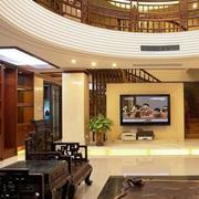 中式家装电视背景墙吊顶图