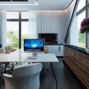 办公室室内盆栽装修窗帘图