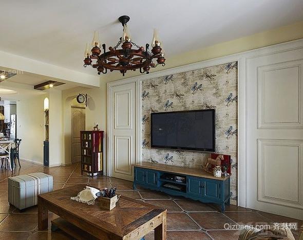现代都市三室一厅客厅隐形门装修效果图
