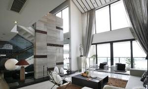 结合时尚的中式别墅挑高客厅窗帘装修设计效果图