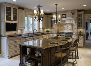 单身公寓恢弘大气的美式开放式厨房装修效果图