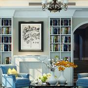 地中海风格书柜装修背景墙图