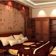 中式风格卧室壁纸装修图案设计