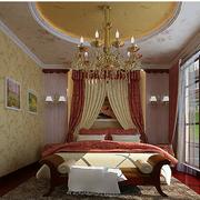 地中海风格卧室壁纸装修吊灯图