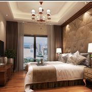 中式风格卧室壁纸装修飘窗图
