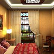 中式卧室吊顶装修窗帘图