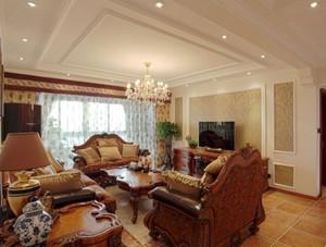 大户型美式乡村客厅电视背景墙装修效果图欣赏