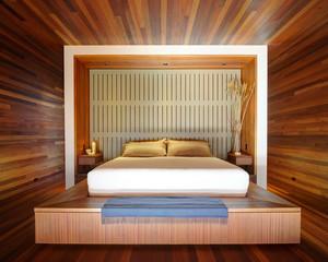 轻松自在的现代日式榻榻米床装修效果图
