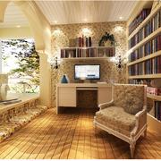 美式田园风格书房装修灯光设计