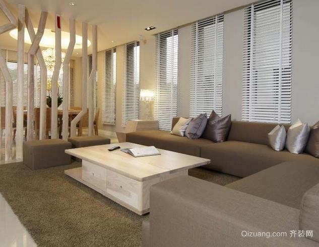 现代精致客厅创意实木茶几装修效果图
