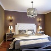 卧室背景墙装修吊灯图