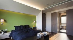 90平米清新自然绿色卧室背景墙装修效果图