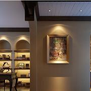 美式乡村风格书房装修灯光设计