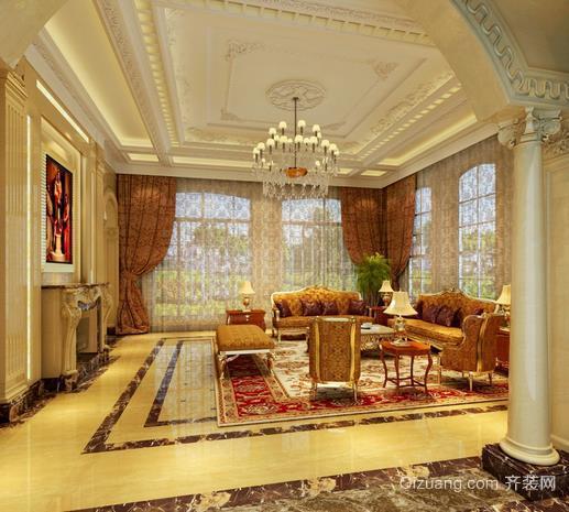金碧辉煌欧式客厅吊顶装修效果图