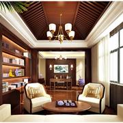 中式风格书房装修背景墙图