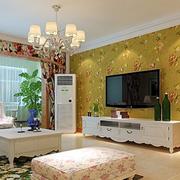 客厅电视背景墙装修窗帘图