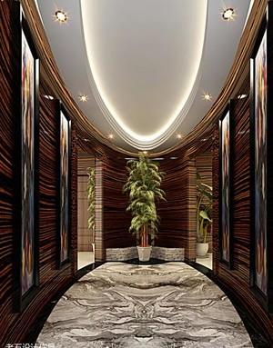 120平米现代美式走廊吊顶装修效果图