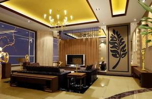 120㎡大户型东南亚风格客厅电视背景墙装修效果图欣赏