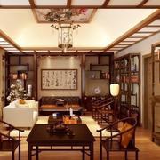 中式博古架玄关隔断装修精致设计
