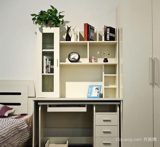现代卧室精美书架电脑桌装修效果图