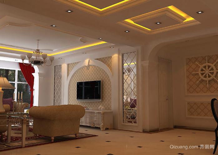 别墅欧式风格弧形客厅电视背景墙