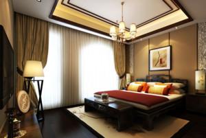 中式现代风格卧室电视背景墙装修效果图